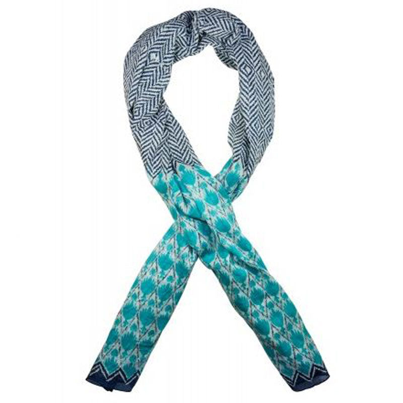 Turquoise and Navy Cotton Scarf