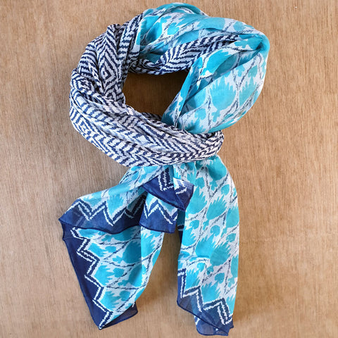 Turquoise and Navy Cotton Scarf - The Chic Nest