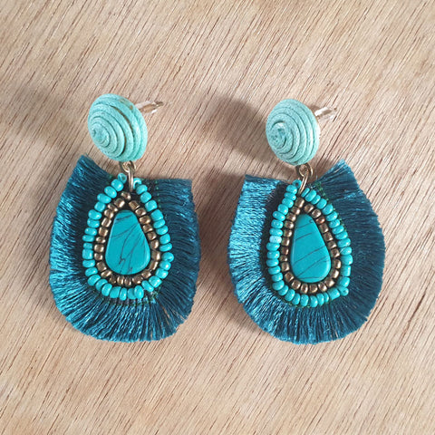 Turquoise Fringe Earrings - The Chic Nest
