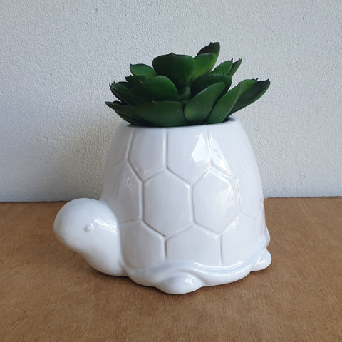 White Turtle Planter - Large - The Chic Nest