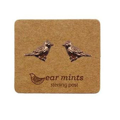 Brushed Metal Tweety Bird Ear Mints Earrings - Rose Gold