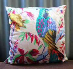 Velvet Bird Print Cushion - The Chic Nest