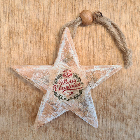 Wooden Merry Christmas Star Ornament