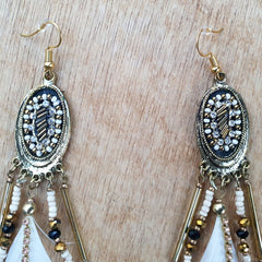 White Feather Beaded Earrings