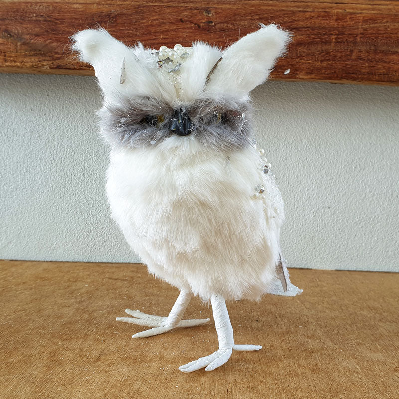 White Beaded Owl 22cm - The Chic Nest