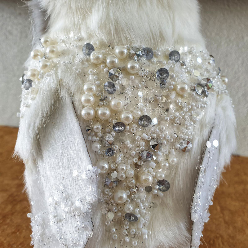 White Beaded Owl 22cm