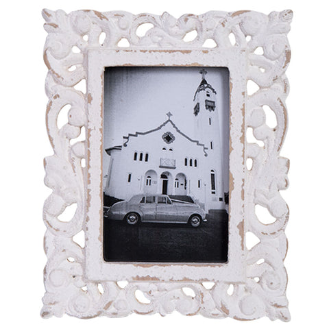 Whitewashed Patterned Photo Frame