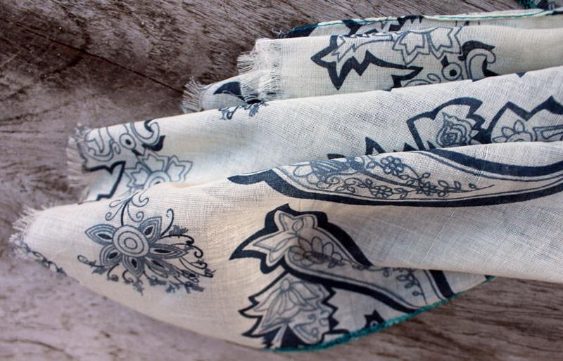 White & Blue Paisley Scarf - The Chic Nest