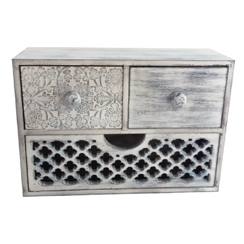 White Blue Brush Flower 3 Drawer Box