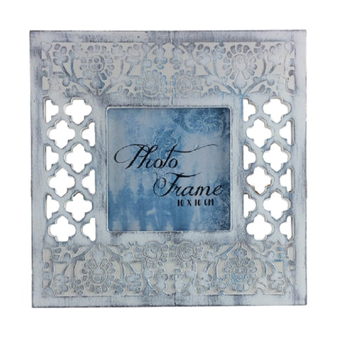 White Blue Brush Flower Photo Frame 4 x 4
