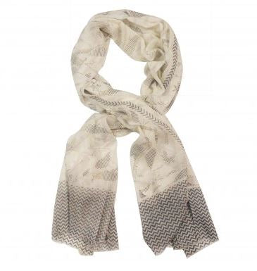 White/Grey Cotton Scarf - The Chic Nest