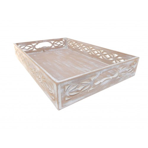 Whitewashed Wooden Tray