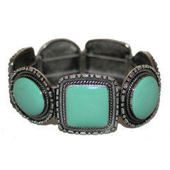 White Metal Turquoise Stretch Bracelet - The Chic Nest
