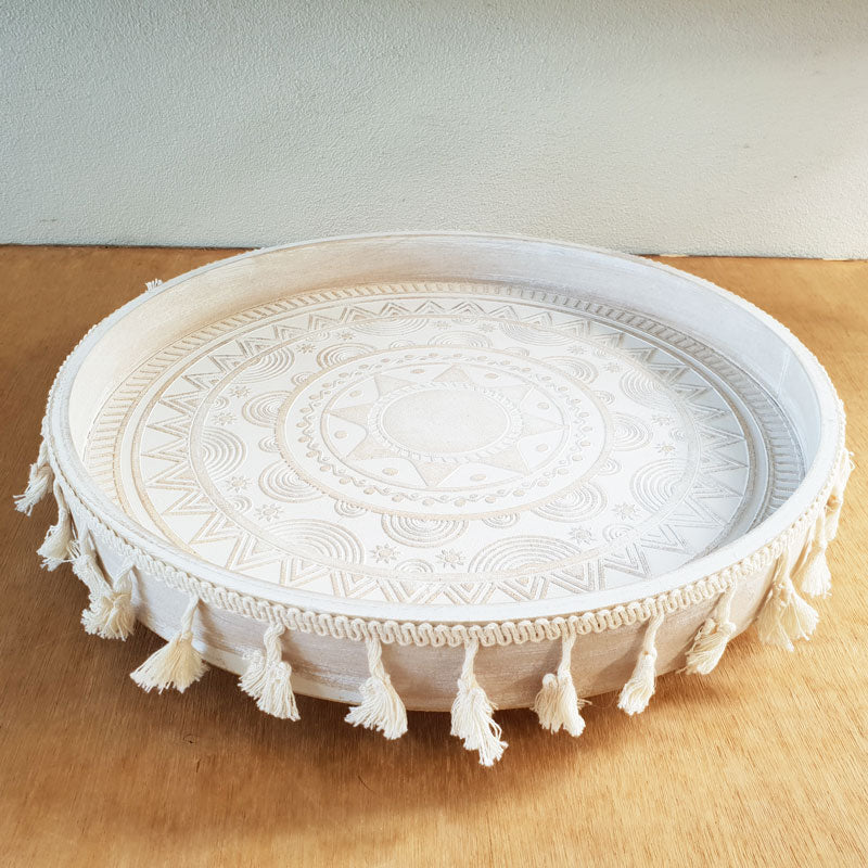 Whitewashed Wooden Tray With Tassels