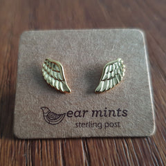 Brushed Metal Wing Ear Mints Earrings - Gold