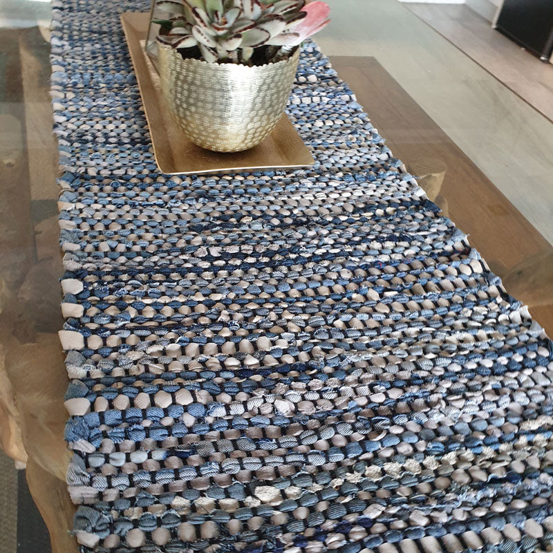 Winterbeach Leather & Denim Table Runner - Handcrafted