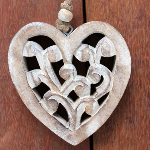 Wooden Carved Hanging Heart - The Chic Nest