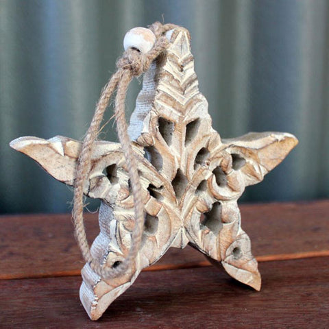 Wooden Carved Hanging Star - The Chic Nest