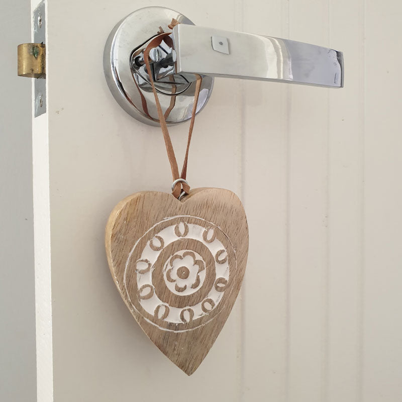 Wooden Carved Hanging Heart With Leather Strap