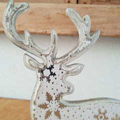 Wooden Reindeer On Stand - The Chic Nest