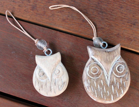 Wood Hanging Owl - The Chic Nest