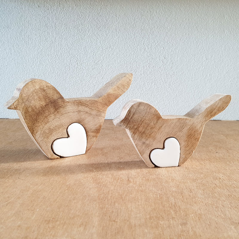 Wooden Bird With Love Heart