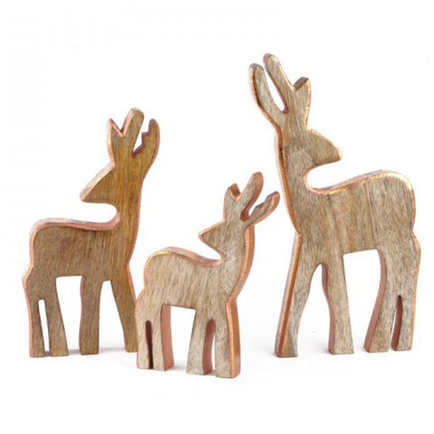 Wooden Reindeer Copper Edge - The Chic Nest