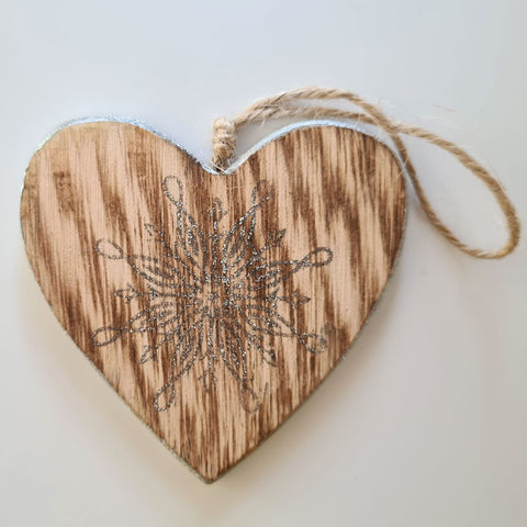 Wooden Silver Heart Ornament
