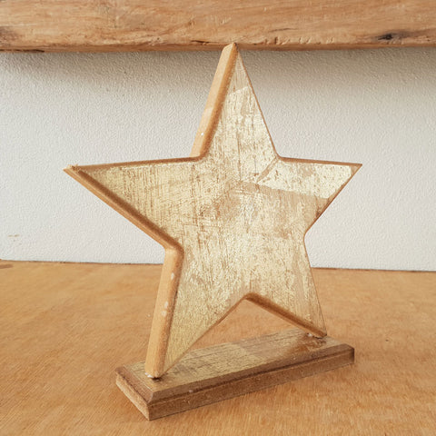 Wooden Star On Stand - The Chic Nest