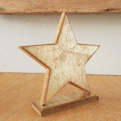 Wooden Star On Stand