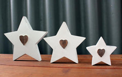 Set of 3 White Wooden Stars - The Chic Nest