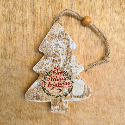 Wooden Merry Christmas Tree Ornament