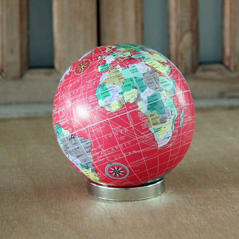 World Globe Ball On Stand - Red