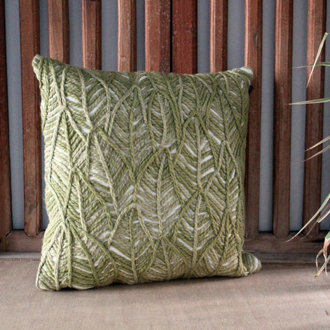 Woven Green Cushion - The Chic Nest