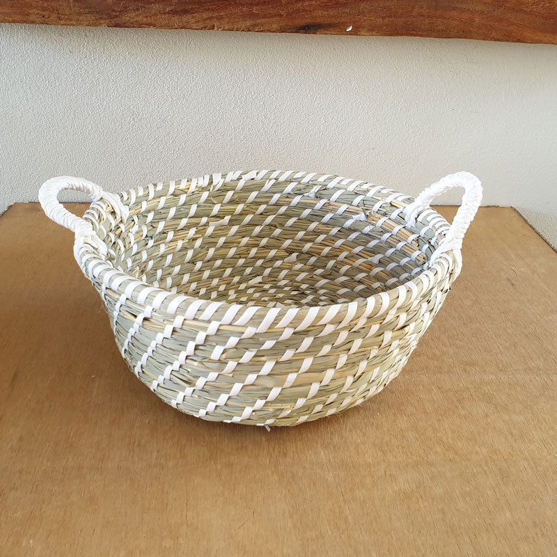 Beige & White Woven Basket - The Chic Nest