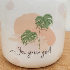You Grow Girl Ceramic Planter Pot