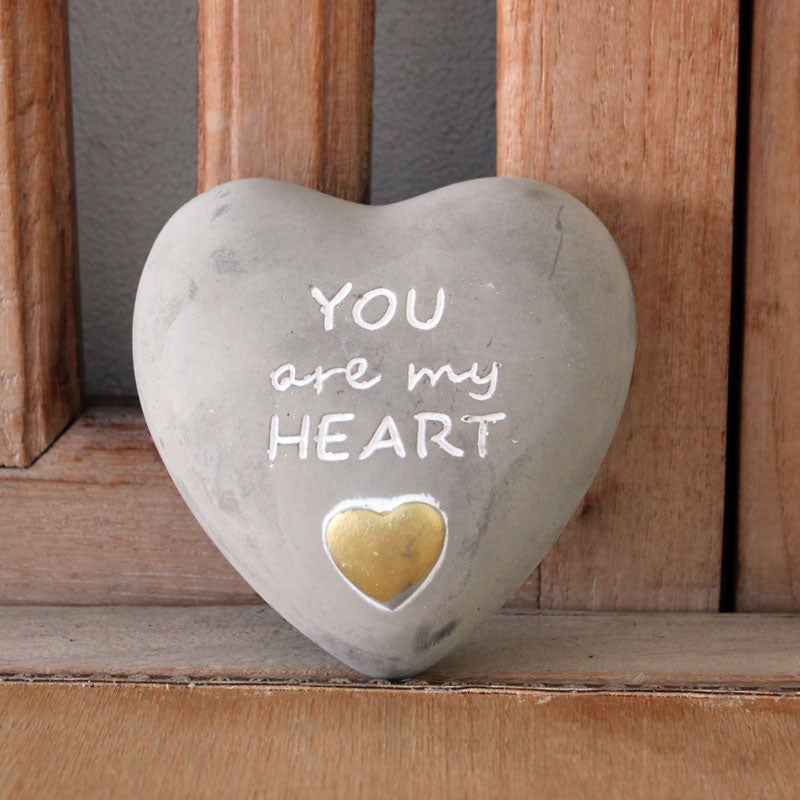 You Are My Heart Pebble Concrete Grey - Gold Splash