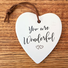 You Are Wonderful Hanging Heart Ornament