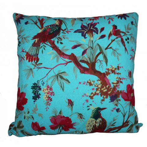 Bird Print Cushion - Turquoise - The Chic Nest