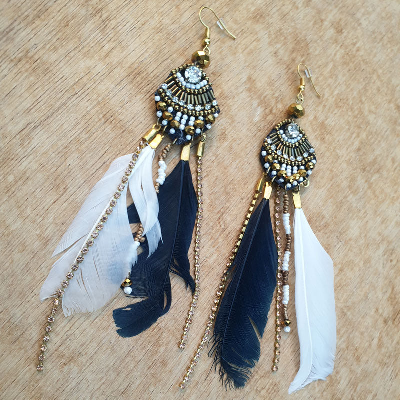 Black Feather Beaded Earrings