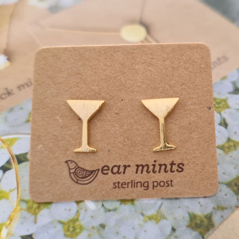 Martini Cocktail Glass Ear Mints Earrings - Gold