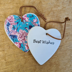 Hanging Heart Peony Ornament - Best Wishes