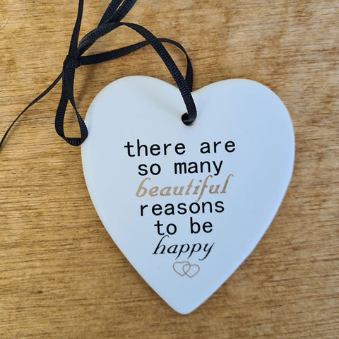 Hanging Heart Reasons to Be Happy Ornament