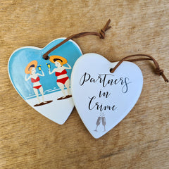 Hanging Heart Partners In Crime Friends Ornament