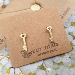 Heart Key Ear Mints Earrings - Gold