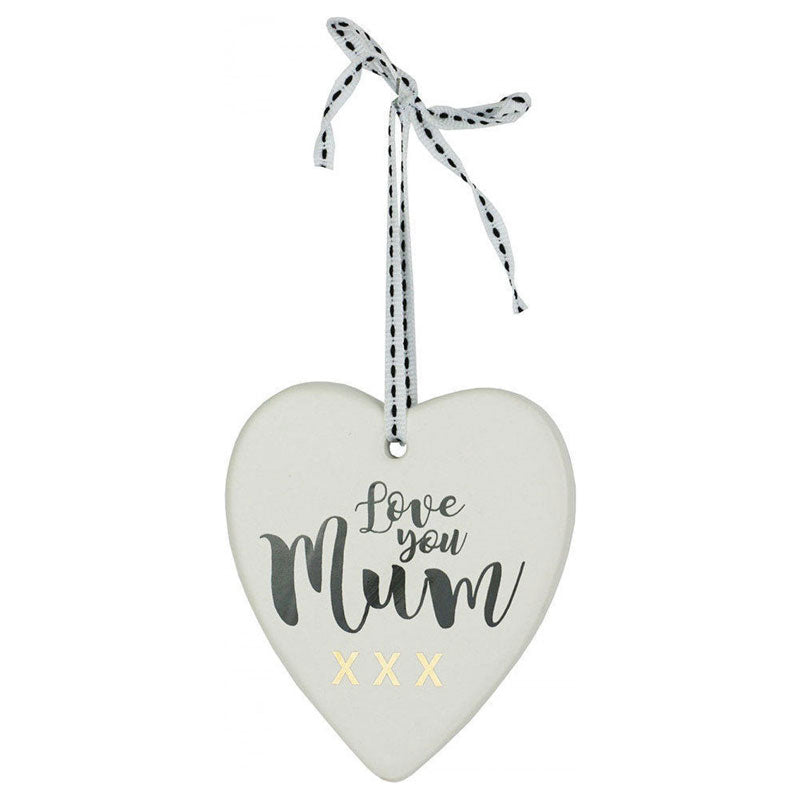 Love You Mum Hanging Heart Ornament
