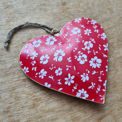 Red Floral Metal Heart Ornament - Extra Large