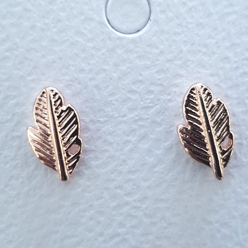 Rose Gold Feather Stud Earrings