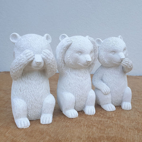 Three Wise Bears - White