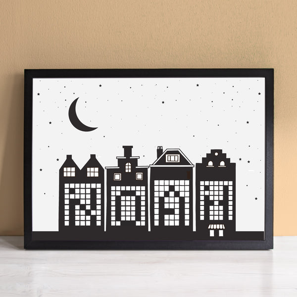 Personalised Name Houses At Night Monochrome Print